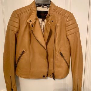 Coach camel color lamb leather jacket